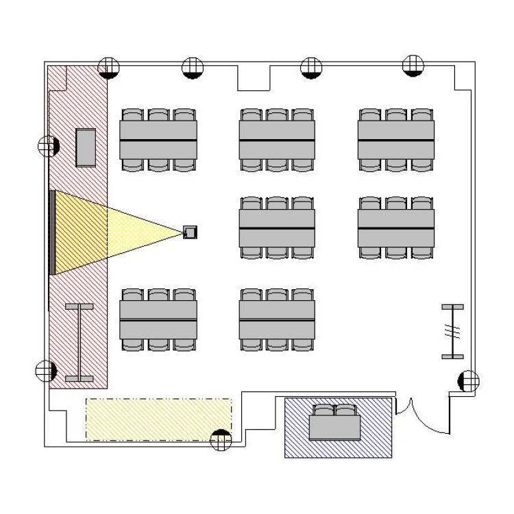 島型 プロジェクターあり:最大収容 28名