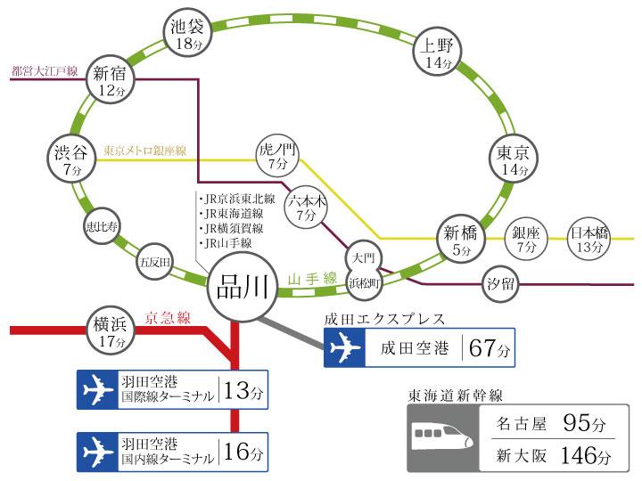 TKP品川カンファレンスセンターANNEXまでの所要時間