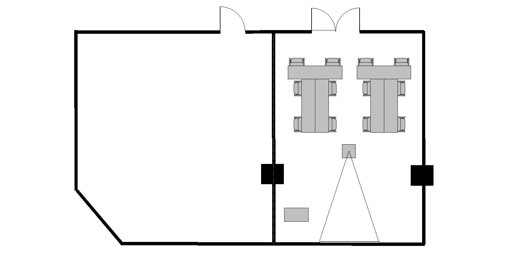 T字島 プロジェクターあり:最大収容 8名