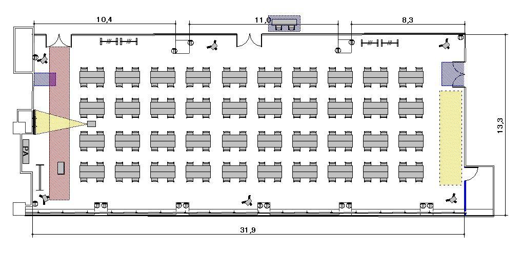島型 プロジェクターあり:最大収容 160名