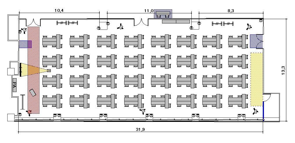 T字島 プロジェクターあり:最大収容 196名