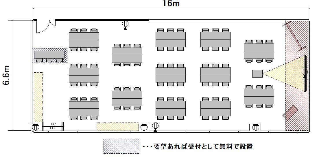 島型 プロジェクターあり:最大収容 52名