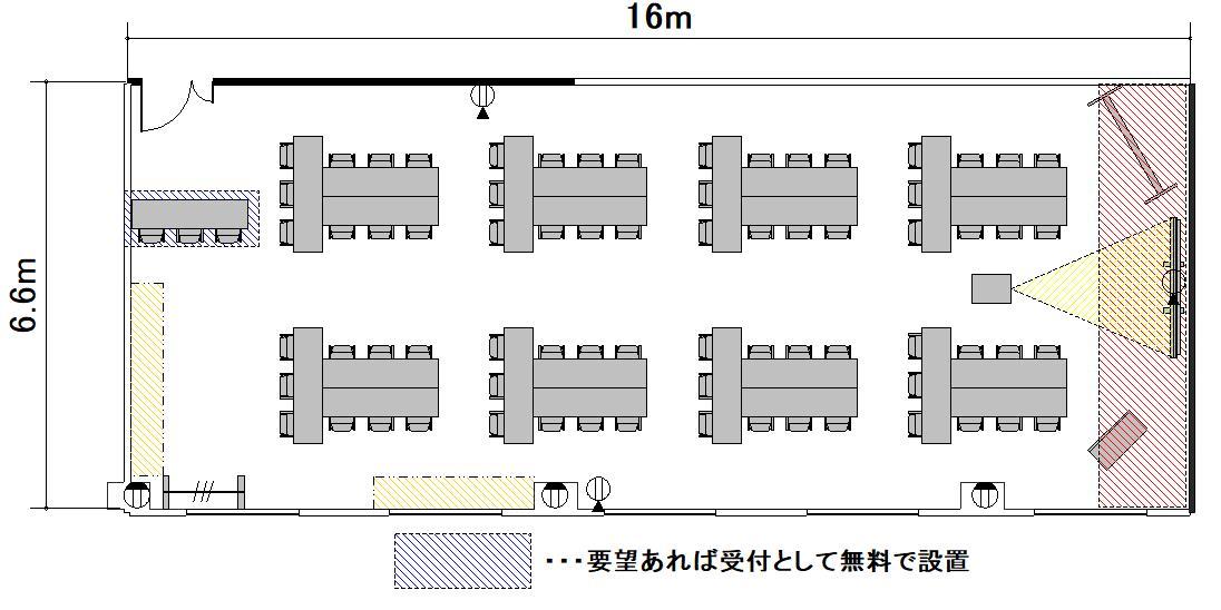 T字島 プロジェクターあり:最大収容 48名