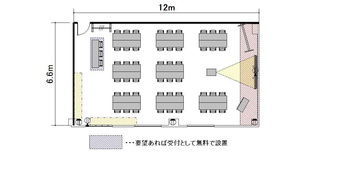 島型 プロジェクターあり:最大収容 32名