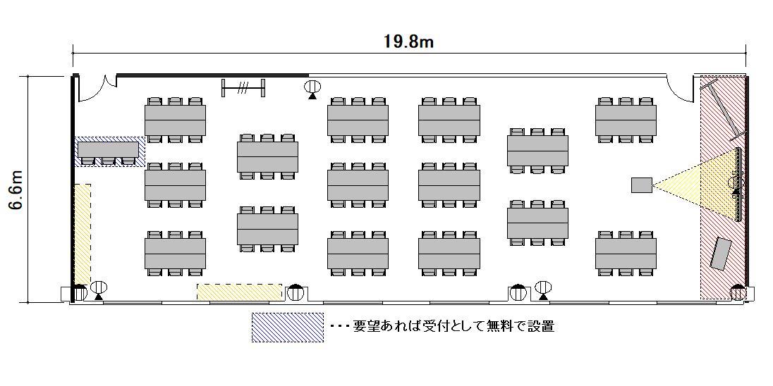 島型 プロジェクターあり:最大収容 60名
