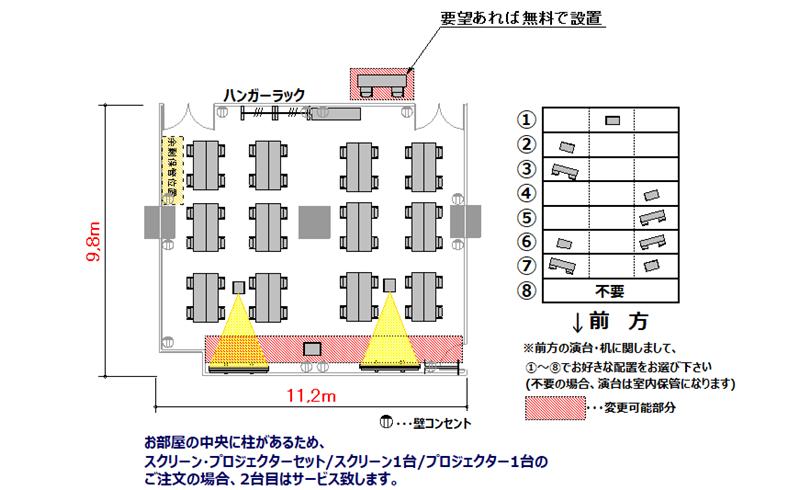 島型 プロジェクターあり:最大収容 48名