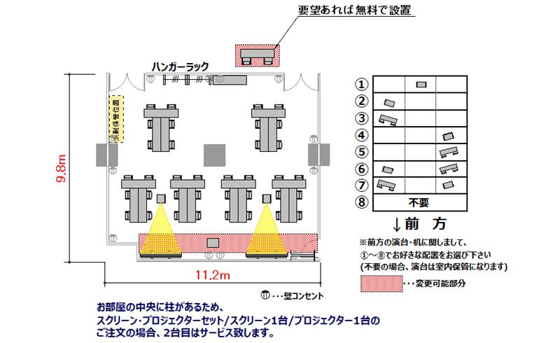 T字島 プロジェクターあり:最大収容 36名