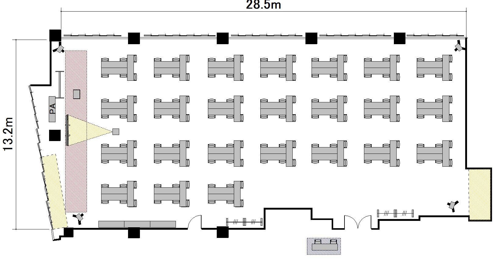 T字島 プロジェクターあり:最大収容 144名