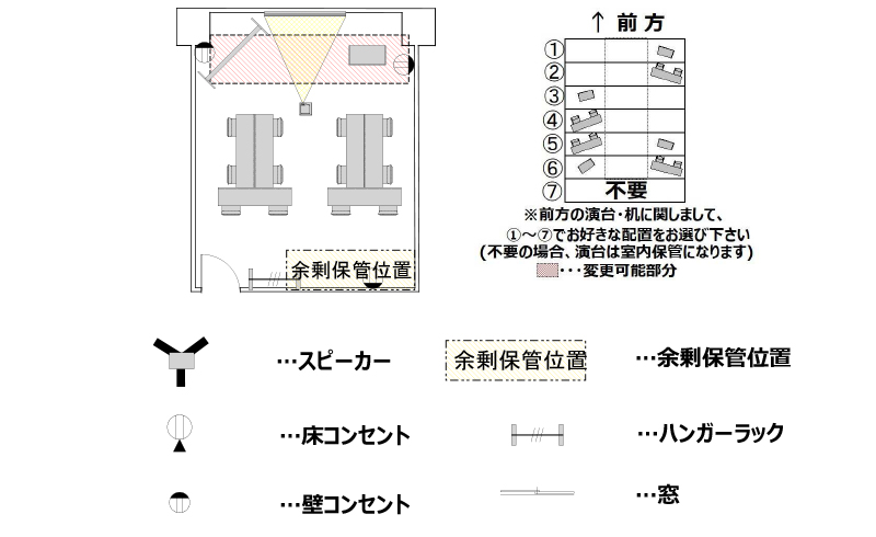T字島 プロジェクターあり:最大収容 12名