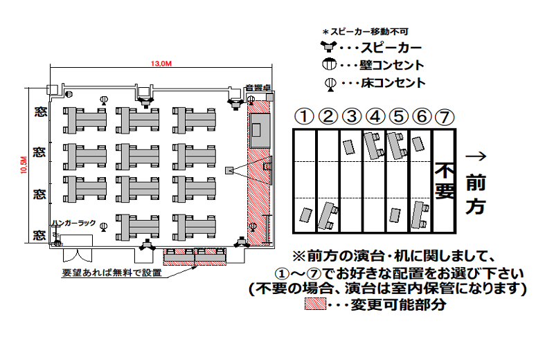 T字島 プロジェクターあり:最大収容 66名