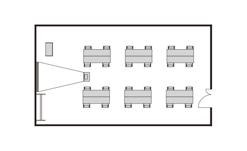 島型 プロジェクターあり:最大収容 24名