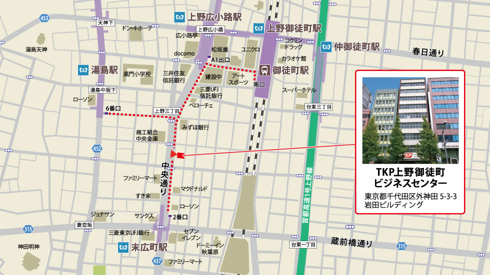 TKP上野御徒町ビジネスセンターアクセスマップ