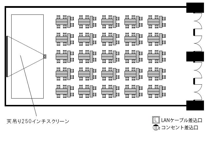 T字島 プロジェクターあり:最大収容 150名