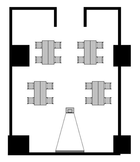 島型 プロジェクターあり:最大収容 16名