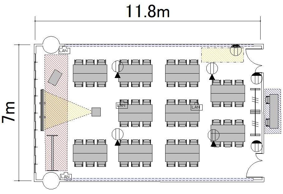 島型 プロジェクターあり-レイアウト