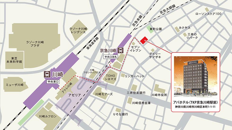 TKPカフェ&バンケット京急川崎駅前アクセスマップ