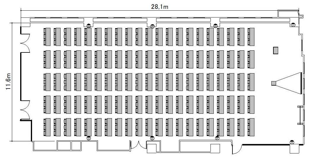 スクール プロジェクターあり:最大収容 210名
