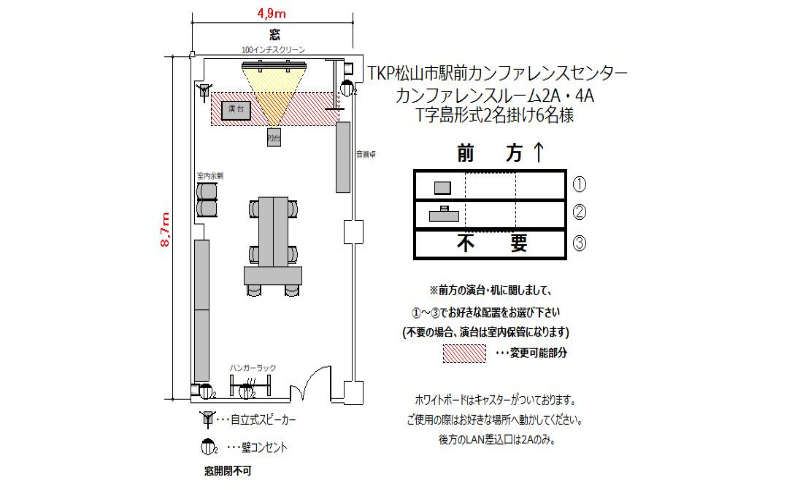 T字島 プロジェクターあり:最大収容 6名