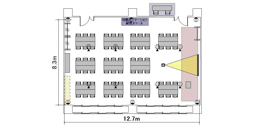 島型 プロジェクターあり:最大収容 44名