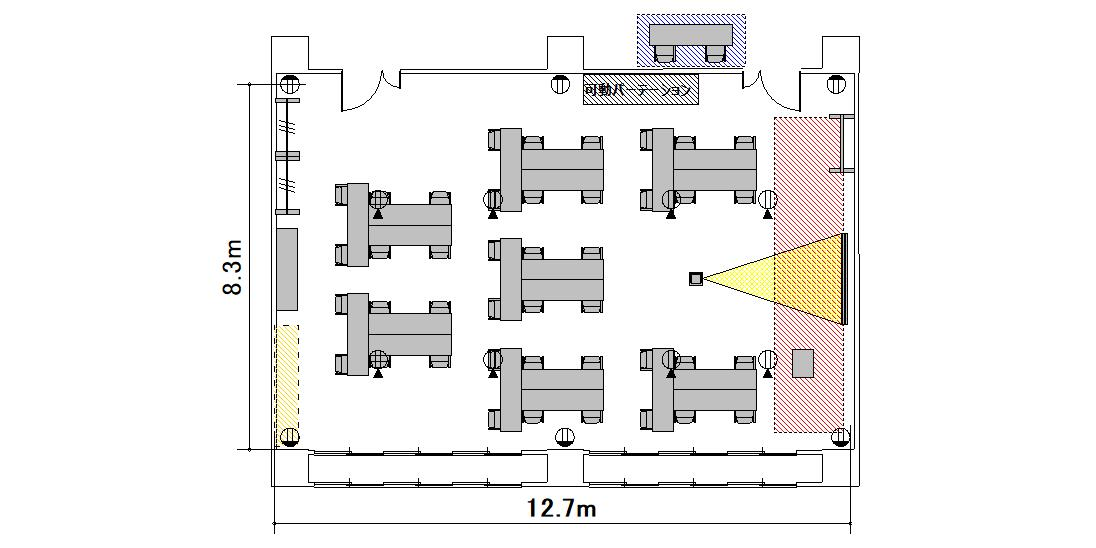 T字島 プロジェクターあり:最大収容 44名
