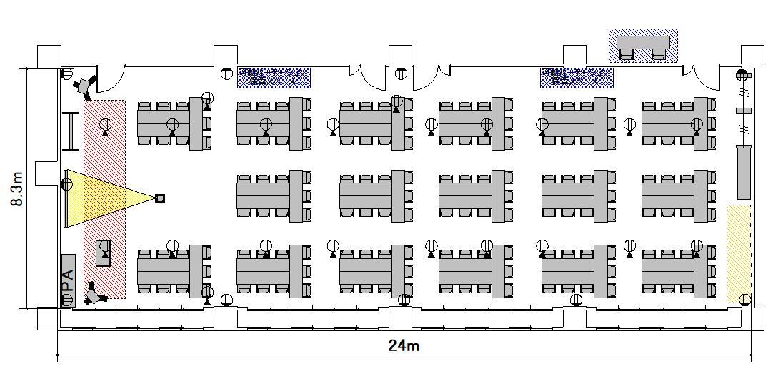 T字島 プロジェクターあり:最大収容 102名