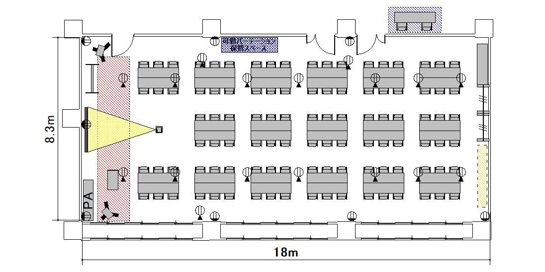 島型 プロジェクターあり:最大収容 68名